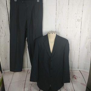 Boss Hugo Boss 100% Wool Navy Blue Pinstripe Suit